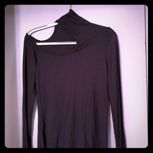 Mock neck top with cutout